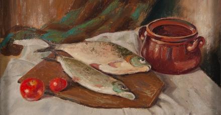 Stanisław Bober, Martwa natura – ryby, 1946, tektura, olej, fot. MŚO