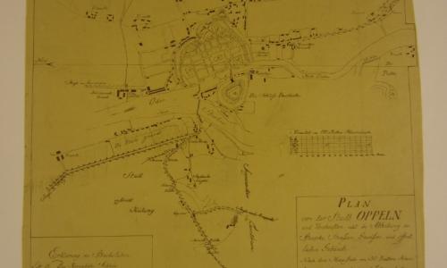 MŚO/H/4118, Plan Opola według stanu z 1810 r., odbitka graficzna, okres międzywojenny – przed konserwacją