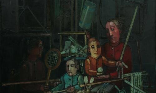 """Kiejstut Bereźnicki """"Rodzina IV wg Rembrandta"""", 1968, płótno, olej (dla uczniów klas I-III)."""