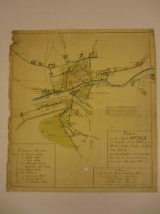 MŚO/H/4038, Plan Opola z 1810 r., rysunek odręczny kolorowany – przed konserwacją